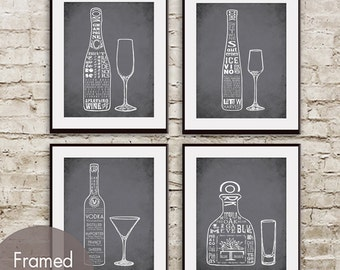 Champagne, Ice Wine, Vodka and Tequila (Top Shelf Alcohol Series) Set of 4 - Art Prints (Featured in Charcoal)