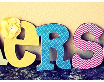 Personalized BRIGHT WOODEN letters. Nursery decoration, Baby shower decoration, center piece, baby, toddler , children, girl or boys room.