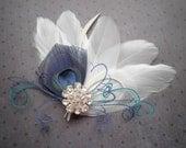 Wedding Hair Accessories, white, blue, peacock, Bridal, hair clip, turquoise, teal, green - BLUE OCEAN