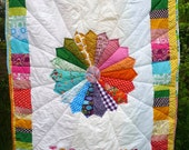 Colourful bespoke modern vintage heirloom quilt cotbed crib size