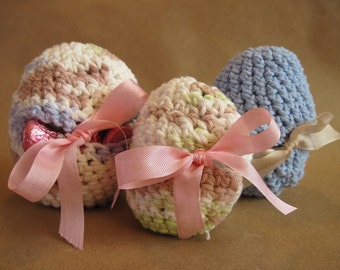 Crocheted Easter Egg Pouches for Treats or Decor