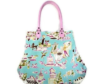 Ooh La la Waverly Fabric Purse Handbag Turquoise Pink French Paris Chic