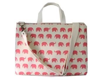 "13"" Macbook or Laptop bag with handles and detachable shoulder strap-Pink elephant"