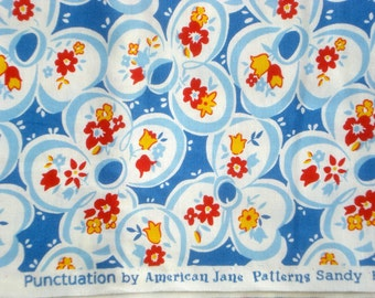 American Jane Punctuation Ditto Daisy blue moda fabrics FQ or more OOP HTF