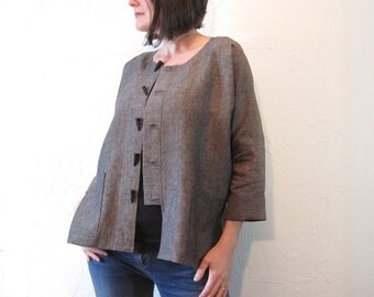 Linen Jacket - Black and Taupe Kimono with Horn Toggle Buttons and Pockets