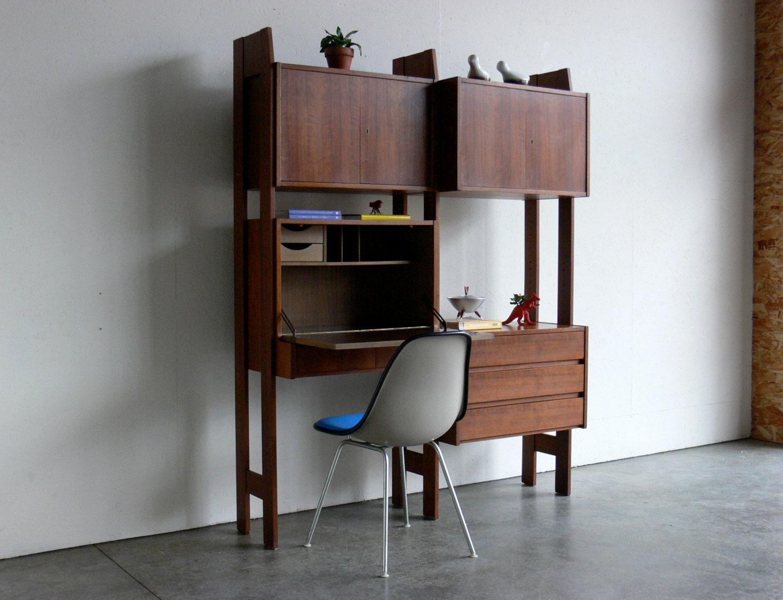 vintage mid century modern modular wall unit. Black Bedroom Furniture Sets. Home Design Ideas