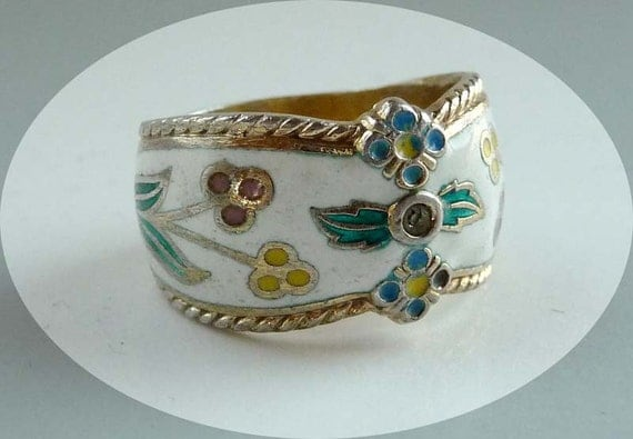 Vintage Sterling And Enamel Cigar Band Ring Signed Esposito