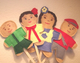 Stick puppets set of 4 handmade in USA