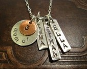 Mom of 3 necklace with children's names sterling silver and copper