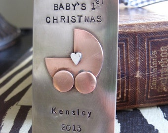 Baby's first Christmas metal personalized stamped ornament