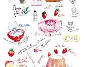 Kitchen poster, French cake recipe, Charlotte with strawberries, Bakery print, Food illustration, Watercolor, Pink, Kitchen decor