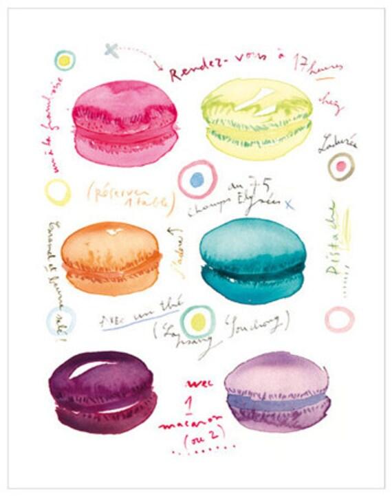 Macarons At Tea Time Watercolor Illustration Print Laduree