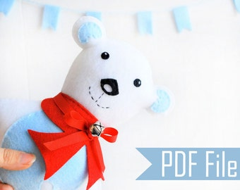 Baby Polar Bear Sewing Pattern, PDF Sewing ePattern  Instant Download A424