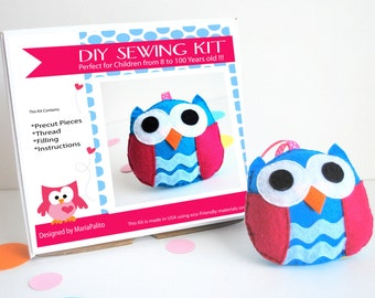 Owl Sewing Kit, Felt Kids' Crafts, Felt Sewing Kit in a Box, 8+ years old craft, No need sewing machine, READY TO SHIP A681
