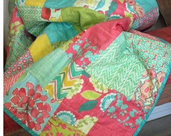 Quilted Throw Floral Chevron Geometric Modern Spring House by Moda Stephanie Ryan,Teal, Raspberry, Chartreuse, Golden Rod, Yellow