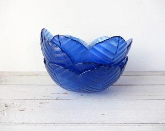 Vintage / ONE Cobalt Blue Glass Bowl  / 10 Available