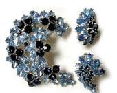 Vintage Crown Trifari Light and Sapphire Blue Rhinestones Brooch Pin Earrings Set