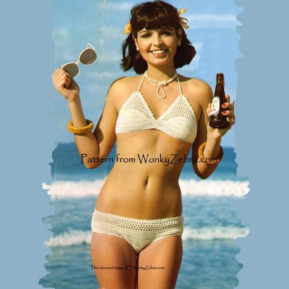 Vintage Crochet Pattern 221 PDF Shell Mesh Bikini from WonkyZebra