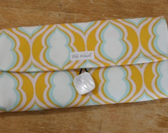 Yellow Fabric Wallet - Womens trifold wallet - Ready to Ship