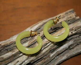 VTG Vintage 80s NEON Yellow Hoop Earrings