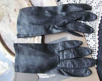 """Gloves - Vintage Black Leather Kid Skin Gloves 8"""" Long (G55)"""