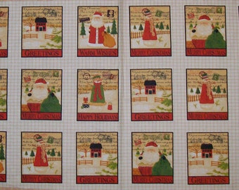 A Wonderful Santa Christmas Holiday Postcard Fabric Panel Free US Shipping