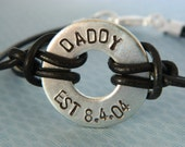 Daddy -- Mens Personalized Leather Washer Bracelet for Dad, Grandpa, Grandfather, Pop, Papa, Uncle, Stepdad, Father's Day