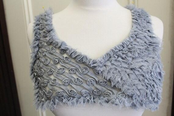 Fashion piece of  grey color chiffon embroider applique yoke 1 piece listing