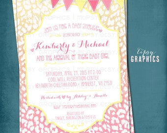 Pink & Yellow Cheetah.  Chic Safari Birthday / Baby / Bridal Shower Invite By Tipsy Graphics
