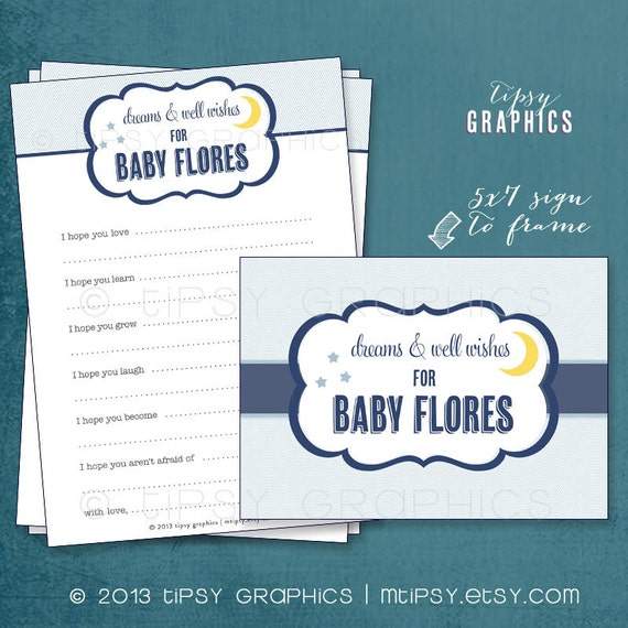 Dreams & Wishes for Baby. Moon and Stars by Tipsy Graphics. Madlib. AdLib. Baby Wishes. Baby Statistics. Printable Cards
