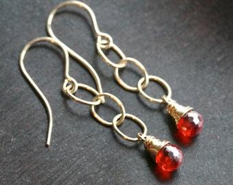 Bright orange dangle earrings, fiery orange cubic zirconia, long, 14k gold filled, chain, drop earrings, gemstone, Mimi Michele Jewelry