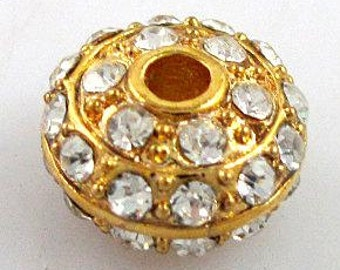 5pcs clear crystal with yellow gold metal roundel pave ball