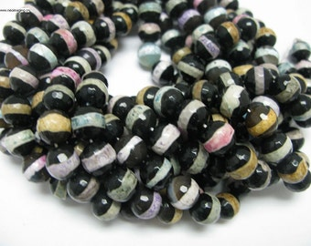 32 pcs 12mm round faceted Tibetan agate beads