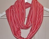 UNISEX Knit Infinity Scarf Red and White Stripe Handmade Cynsible Creations