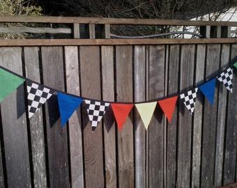 Bunting Flags Cars Theme Boys Birthday Decoration Race Car Flags, Disney Cars, Monster Truck, Nascar