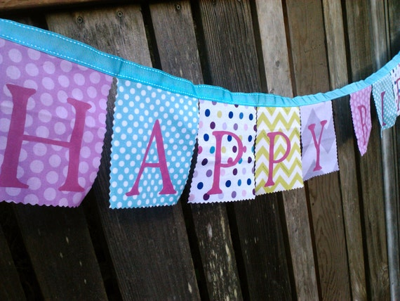 Happy Birthday Banner, Fabric bunting flags, Party Banner, Birthday Decoration Lavender, PInk, Turquoise, Green Girls Birthday Garland