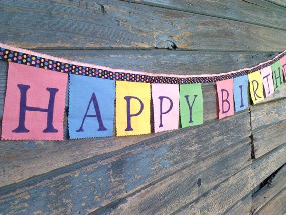 Happy Birthday Banner - Alice in Wonderland Mad Hatter party decoration