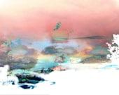 Peach watercolor texture giclee photo art print