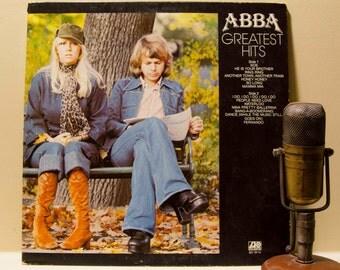 "ON SALE Abba Vinyl Record Album 1970s Swedish EuroPop Dance Disco Fun Couples LP ""Greatest Hits""(1977 Atlantic w/""Mamma Mia"", ""Sos"",""Fernand"