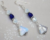 Faceted Sea Opal and Cobalt Blue Czech glass dangly earrings.  Match the tiara styled faceted sea opal and cobalt blue necklaces shown