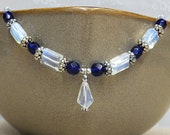 SALE Tiara style necklace w/ Faceted Sea Opal & Cobalt Blue Czech glass a sparkly blend of silver finish pewter w/ Swarovski center flowers