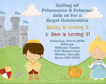 Princess and Prince Invitation PICK your prince and princess-Digital File