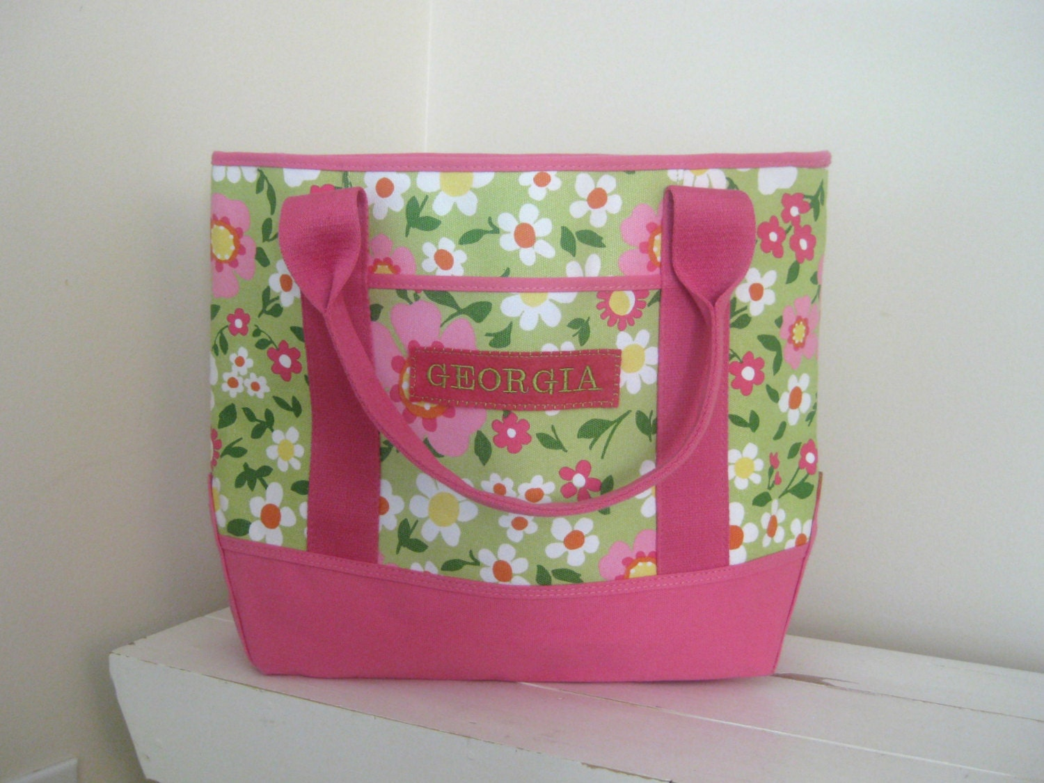 Beach Tote With Monogram Summer Floral