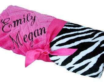 Personalized Zebra Minky Baby Blanket-Mini Size
