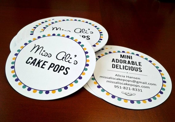"""250 round hang tags or business cards - 4""""custom printed  full color circles - 14 PT glossy stock"""
