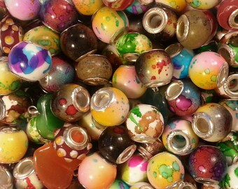 10 Beads Multi  Mixed Large Hole  Beads fit European Jewelry