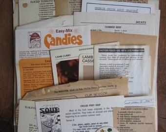 Vintage Recipe Cookbook pages lot- Vintage paper ephemera lot (35 pages)