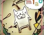 Doodle Cat Sterling Silver Pendant