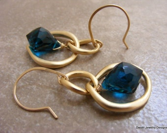 Deep Teal Blue Quartz Earrings with Matte Gold Double Hoops.