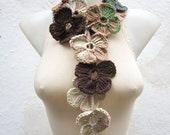 Crochet, Lariat Scarf, Flower Lariat Scarf, Variegated Long Necklace, Crocheted Jewelry, Neck Accessories, Grey Cream  Brown Green